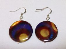 Brown circle shell earring